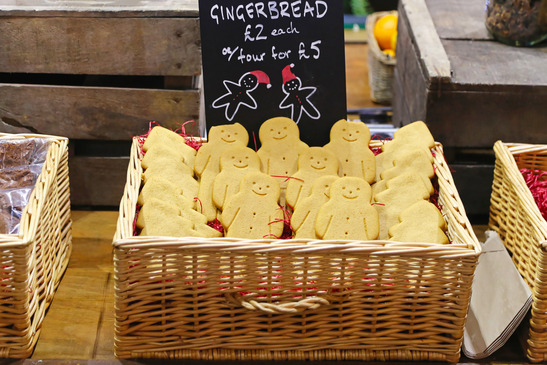 Gingerbread cookies for sale in basket at Christmas market